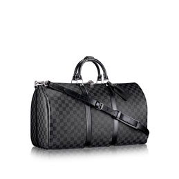 louis vuitton keepall 55 with shoulder strap damier graphite canvas travel