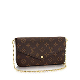 louis vuitton félicie chain wallet monogram canvas small leather goods